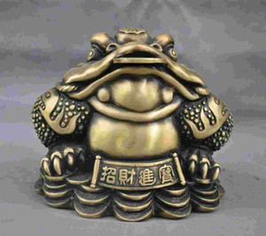 "9 ""Escultura de latón hecho a mano de China chino bronce sapo dinero estatua"