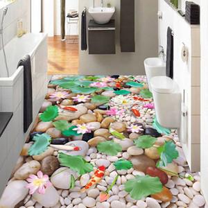 Wholesale- Custom 3D Photo Wallpaper Chinese Style Cobblestone Lotus Kitchen Living Room Bathroom Floor PVC Self-adhesive Mural Wallpaper