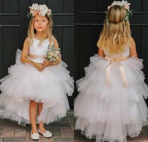 2016 High Low Schöne Blumenmädchen Kleider für Hochzeiten Baby Kommunion Kleider erste Kommunion Spitze Kleider Party Kleider