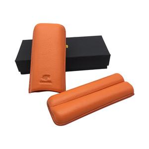 Ucuz Fiyat Turuncu renk Yumuşak Deri Puro Kılıfı Tutucu 2 Tüp Fantezi Hediye Kutusu ile COHIBA