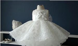 Nobre branco chiffon baptismo baptizado vestido, New born baby girls grande arco princesa Tutu vestidos de aniversário para o casamento