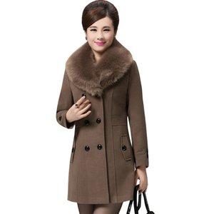 Cappotto invernale Real Plus Size Madre di mezza età Autunno Inverno Giacca donna 2017 Europa New Fashion Slim Long Female Bl242 A2