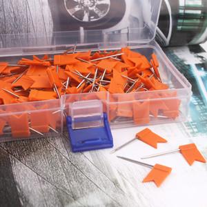 200 pcs orange Flag Push Pins Nail Thumb Tack Cork Board Map Drawing Pins For Home Office School Stationery