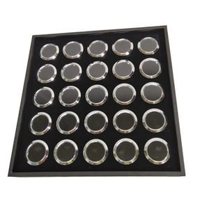 Preto 25 Células Rodada Diamante Gemstone Bandeja Com 25 Pcs Solta Rodada De Metal Gem Stone Mostrar Contas Pear Caixa de Coleta De Armazenamento 21 * 21 * 2.5 cm
