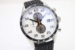 2017 Nuevos hombres de lujo de cuarzo Chrono McLaren Calibre 1887 esfera blanca de caucho negro reloj de los hombres deporte cierre plegable hombres relojes