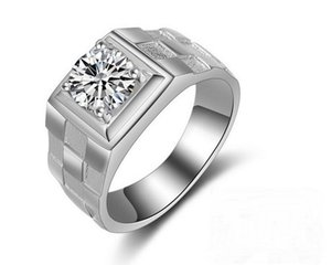Fashion Jewelry Watch style Solitaire Men ring 1.5ct 5A Zircon Cz 925 Sterling silver Emgagement Wedding Band Ring