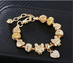 DIY kalp dostluk bilezikler, bayan bilezikler 18-20 cm altın kaplama yılan zincir charms bilezik, moda ayak bileği bilezikler
