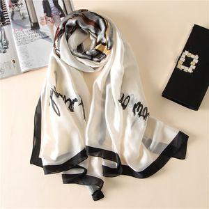 Pure Silk Scarf Hijab Mulheres Soft White Foulards Xailes Plus Size Hijab Lenços 2019 180 centímetros * 90 centímetros SFN083