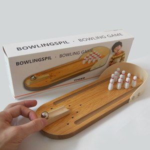 Mini juego de escritorio de bolos niños de madera rompecabezas juguetes innovadores de madera maciza bola divertida paternidad juguetes creativos