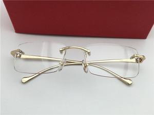 Erkekler Vintage Rimless Reçete Gözlükler Çerçeve Moda Gözlük kutusu ile Altın yeni çerçeveler