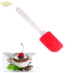 Wholesale- 1pc Baking Scraper Silicone Cream Butter Cake Spatula Mixing Batter Plastic Clear Long Handled Cake Brushes Spatulas