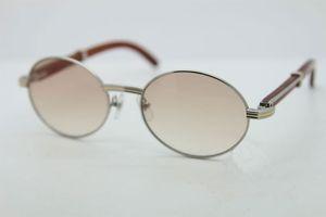 العلامة التجارية الشهيرة الخشب نظارات شمسية للرجال النساء ريترو جولة نظارات الشمس 7550178 مصمم الأزياء خمر النظارات 57 ملليمتر مع القضية الأصلية