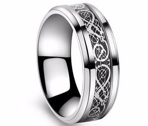 Anneau de la Saint-Valentin Vintage Tungsten en acier blanc Golden Ring pour hommes seigneur mariage Titanium anneaux Band nouveau punk anneau bijoux