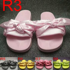 Fashion Women Slippers Fenty Bandana Slide Leadcat Fenty rihanna Bowtie slippers Bow Slides Ladies Slipper White Pink Red Gold Sale With Box