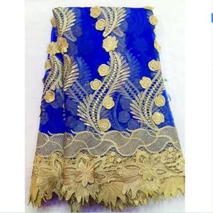 New French Gold Line Tissu africain de haute qualité en dentelle de maille de tulle pour robe de mariée, dentelle net nigérian 5y / lot