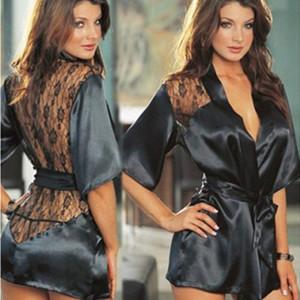 Vestido de lencería sexy para mujer Ropa interior Conjunto de traje de pantalón Pijamas de encaje Ropa de dormir para mujer Ropa de noche de bata con cinturón de cintura