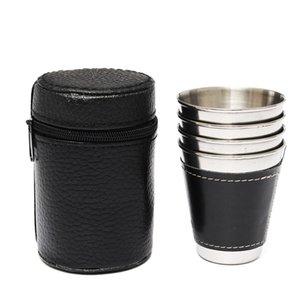 Atacado-4PCS 70ml Mini vinho de aço inoxidável Álcool couro Wrap Cup Caneca Hip garrafa de água ao ar livre Travel Drinkware Chaleira