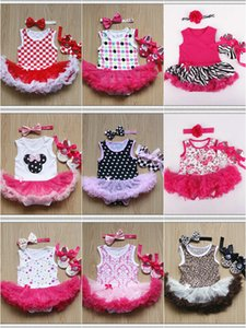 12 Styles Baby Girls TUTU 스커트 Rompers 3 조각 세트 (헤드 밴드 + Romper + 신발) 유아 유아용 베이비 프릴 점프 슈트 Onesies kids clothing Clothing