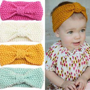 Knot Headband Bebe menina Inverno Crochet recém-nascido cabeça envoltório Warmer malha Bow Hairband Faixa de Cabelo Laço de Cabelo Acessórios 12 cores
