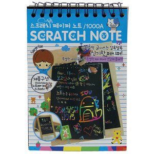 Wholesale- 1pcs Scratch Note Black Cardboard Creative DIY Draw Sketch Notes for Kids Toy Notebook School Supplies(Blue)