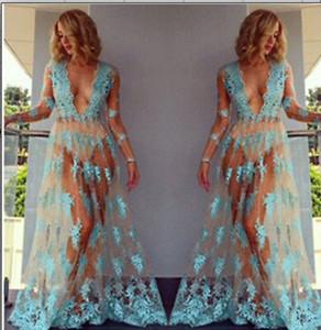 2019 Playa de la Mujer Boho Verano Sheer Mesh Encaje Floral Bordado Crochet Playa Cubrir Vestidos Vestidos Hippie ver a través de encaje Vestido