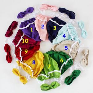 아기 Rompers 머리띠 세트 여름 rompers 유아 100 % 린넨 솔리드 레이스 romper 프릴 romper 10colors * 5size 사진 소품