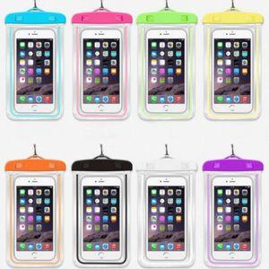 휴대 전화 케이스 방수 이동 전화 수영 가방 아이폰에 대한 파운치 sumsung xiaomi 보너스 빛나는 보편적 인