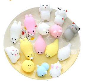 10pcs Mini Squeeze Toy Squishy cat Cute Kawaii doll Squeeze Stretchy Animal Healing Stress Hand Fidget vent Toys Paste on for cellphone Case