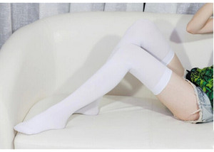 Diseño Sexy Stocking High Girl Mujer White White Skinny Stockings Over Knee Muslo High Stocking