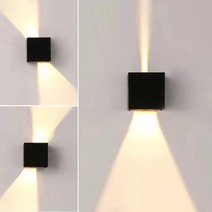 Moderno Cube impermeabile 12W COB da esterno Lampada da parete a LED da esterno IP65 Lampade da parete in alluminio Garden portico Sconce Light