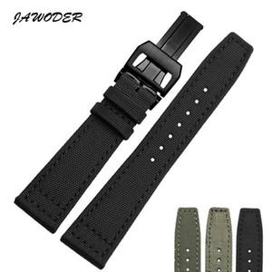 JAWODER Watchband 20 21 22mm Paslanmaz Çelik Dağıtım Toka Siyah Yeşil Naylon Deri Alt Watch Band ile Kayış Portekiz Pilotlar için