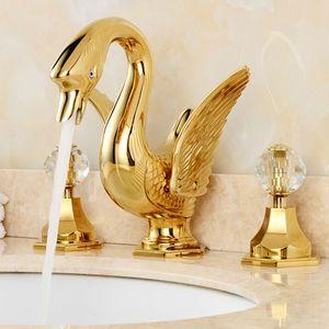 Recentemente dorato bagno diffuso 8 pollice Deck Mounted Bagno Bacino Lavandino Rubinetto doppio cristallo maniglie forma di cigno