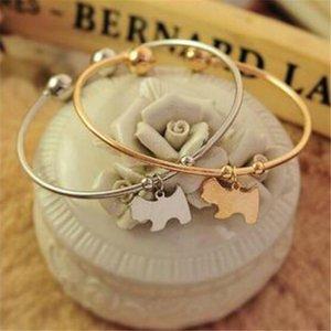 Шарм браслеты женщины ювелирные изделия для девочек браслет-манжета очаровательный милый кулон золото серебряный сплав собака пустые браслеты Рождественский подарок