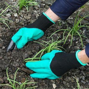 Guantes Ecológico Jardín Genie yemas de los dedos de plástico verde Garras del empuje y la planta de nylon de podar Guantes Jardín Suministros Excavación impermeable Herramienta