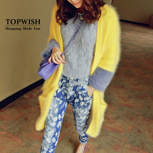 Wholesale- Knitted Real Mink Cashmere Coat Casual Fashion Women Mink Cashmere Cardigans Contrast Color Mink Sweater TFP945