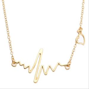 Collares joyas para mujeres ECG libre Collares pendientes cadena de oro vestido de fiesta AMOR latido del corazón regalo para niña al por mayor Reino Unido EE.UU. precio más bajo 2017