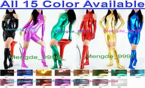 15 nouvelles couleurs Brillant Métallique femmes Costumes Catsuit costume sexy court Costumes de costume cosplay Halloween corps avec gants longs Stocking Costume M168