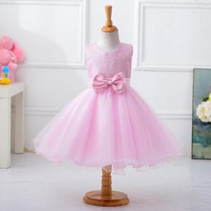 Ucuz Pembe Çiçek Kız Wedding Elbiseler 2018 Dantel Aplike Ruffles Çocuklar Resmi Giyim Kolsuz Long Beach Kızlar Yarışması