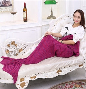 Mermaid Tail Blankets Mermaid Tail Sleeping Bags Cocoon Matt Knit Sofa Manta hecha a mano Living Room Sleeping Bag 10 colores 4 tamaño TA60-
