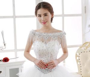 Luxo Rhinestone Beading Borlas Acessórios De Noiva Cadeia De Ombro 2019 New Bateau Neck Nupcial Wraps Para O Casamento