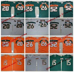 2017 Miami Hurricanes Colégio Jerseys 15 Brad Kaaya 26 Sean Taylor 52 Ray Lewis 20 Ed Reed costurado Jersey