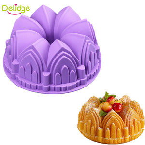 Delidge 10 pc 큰 크라운 모양 쉬폰 케이크 금형 큰 빵 팬 행복 한 생일 사바린 케이크 금형 성 교회시 폰 금형