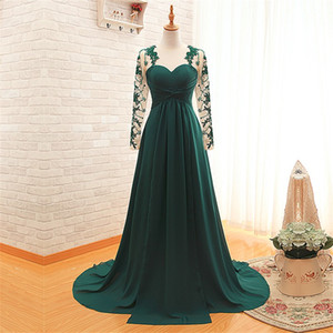 Линия милая аппликация с длинным рукавом платья выпускного вечера халат де Охотник Hunter зеленый шифон Reals вечерние платья вечеринки