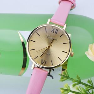Новое поступление оптом женева женские кожаные часы мода OKTIME простой дизайн повседневная одежда рома циферблат наручные часы для женщин