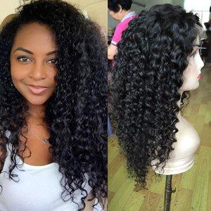 Kinky Kıvırcık fransız dantel İnsan saç peruk, brezilyalı saç dantel peruk, doğal saç çizgisi ile insan saçı tam dantel peruk