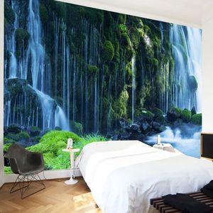 Alta calidad personalizada 3D Photo Floor Wallpaper Waterfall Forest baño dormitorio piso mural PVC autoadhesivo Wallpaper pegatina