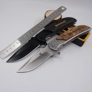 Große Brwoning Messer 338 Taschen-faltendes Messer-hölzerner Griff im Freien Schnell-öffnendes taktisches Überlebens-Messer-Kampf EDC Werkzeug-Vife-Messer
