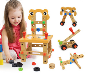 Kids Multifunctional Wooden Disassembly Tool Chair 40*23.5*23.5cm Children Developmental Toy Infants DIY toys boys girls gifts EMS DHL
