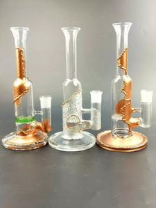 """11 """"de altura chapeamento de cobre bongos de vidro vidro Bubbler mão bongs de vidro soprado coador de água um pente de mel disco conjunta tamanho 18.8mm"""