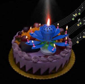 2 schichten Magic Music kerze Geburtstagsfeier Hochzeit Regenbogen Lotus Sparkling Flower Candles licht kuchen zubehör Festliche Lieferungen